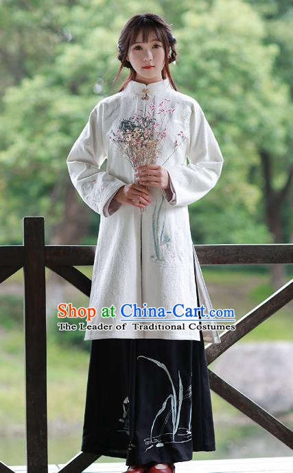 Traditional Chinese National Costume Embroidered Long Blouse Tang Suit Hanfu Dress for Women