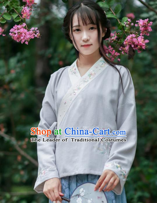 Traditional Chinese National Costume Embroidered Cheongsam Blouse Tang Suit Hanfu Shirts for Women