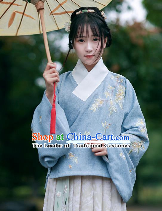 Traditional Chinese National Costume Embroidered Hanfu Blouse Ming Dynasty Shirts for Women