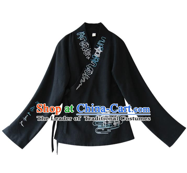 Traditional Chinese National Costume Embroidered Shirts Hanfu Blouse for Women