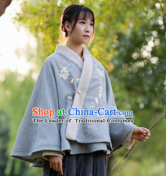 Traditional Chinese National Costume Embroidered Cloak Hanfu Blouse for Women