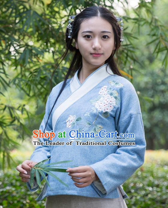 Traditional Chinese National Costume Embroidered Blue Shirts Hanfu Cheongsam Blouse for Women