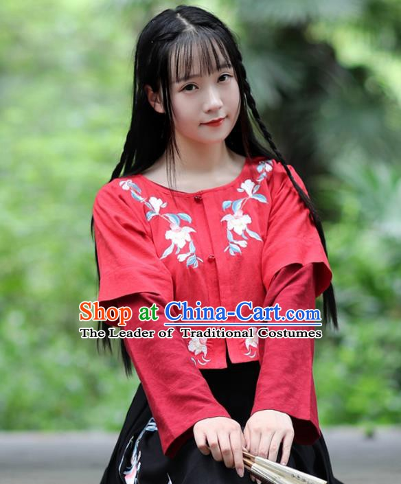 Traditional Chinese National Costume Embroidered Red Shirts Hanfu Cheongsam Blouse for Women
