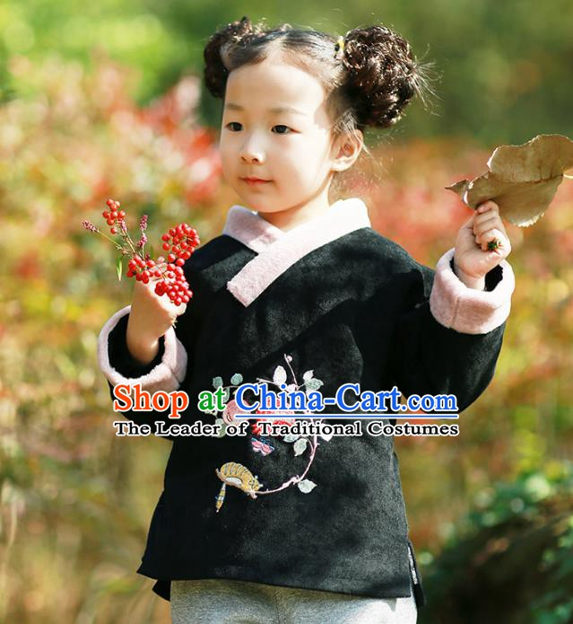 Traditional Chinese National Costume Embroidered Shirts Hanfu Cheongsam Blouse for Kids