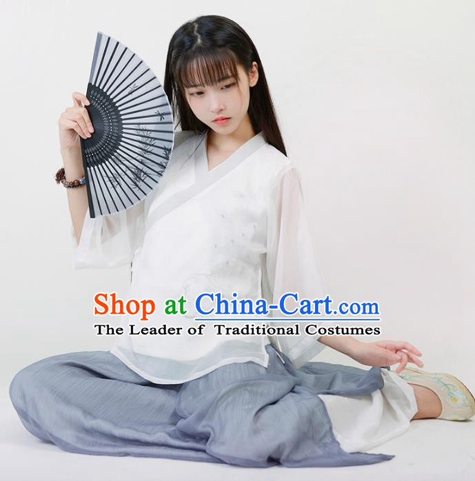 Traditional Chinese National Costume Embroidered Hanfu Blouse Tang Suit Shirts for Women