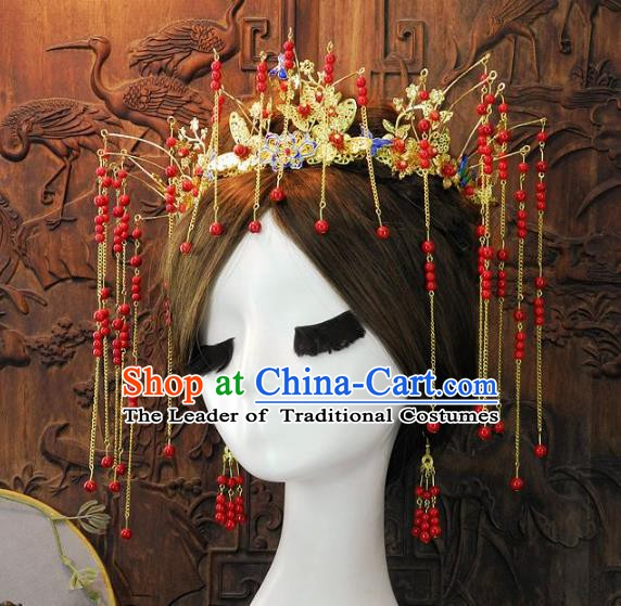 Chinese Handmade Classical Wedding Hair Accessories Ancient Red Phoenix Coronet Headdress for Women