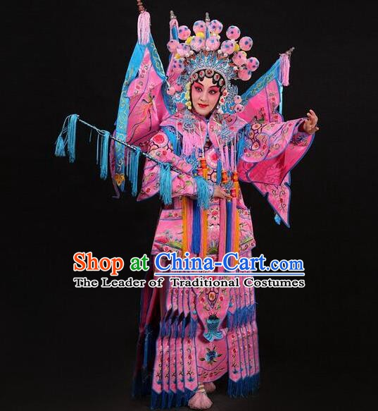 Traditional Chinese Beijing Opera Swordplay Costume Peking Opera Blues Embroidered Clothing for Women