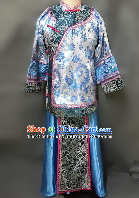 Traditional Chinese Qing Dynasty Young Mistress Costume Ancient Embroidered Blue Xiuhe Suit for Women