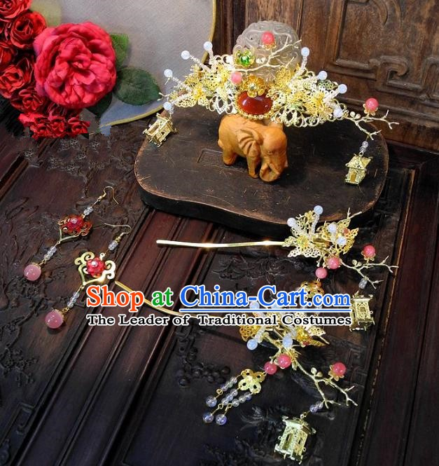 Chinese Handmade Classical Wedding Hair Accessories Ancient Hanfu Jade Phoenix Coronet Headdress for Women