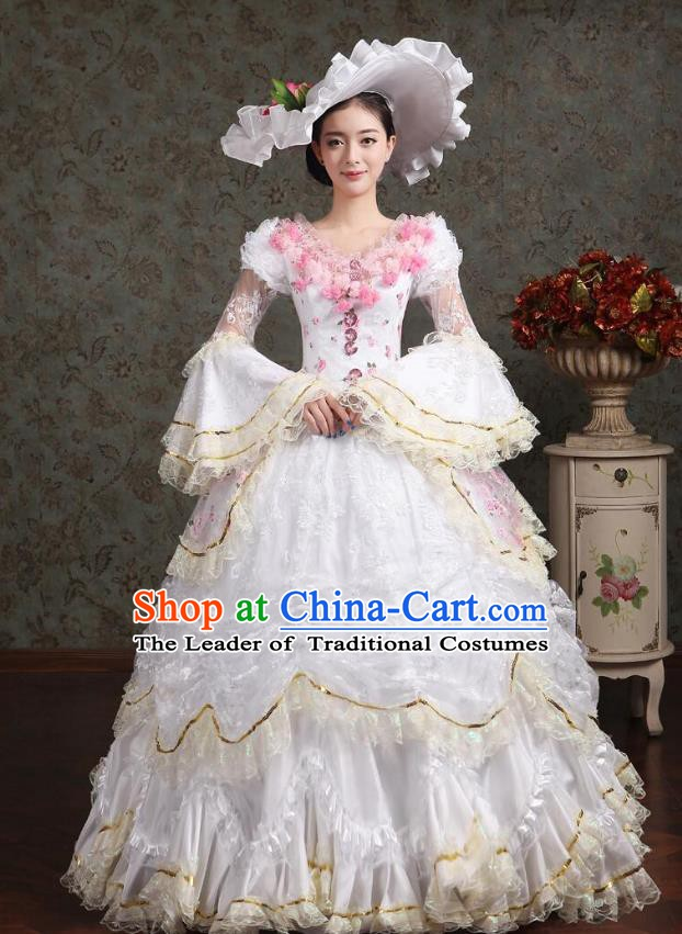 Traditional European Court Princess Renaissance Costume Dance Ball Dowager White Full Dress for Women