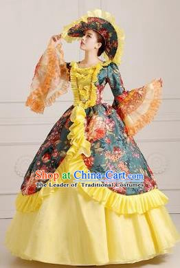Traditional European Court Princess Renaissance Costume Dance Ball Dowager Yellow Full Dress for Women