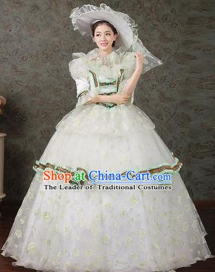 Traditional European Court Princess Renaissance Costume Dance Ball White Full Dress for Women
