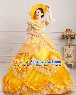 Traditional European Court Princess Renaissance Costume Dance Ball Yellow Layered Full Dress for Women