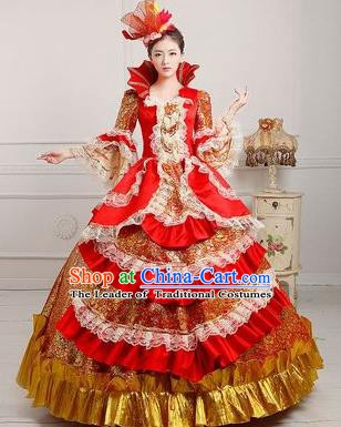 Traditional European Court Princess Renaissance Costume Dance Ball Red Bubble Full Dress for Women