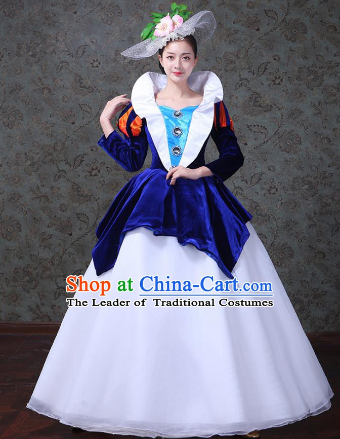 Traditional European Court Princess Renaissance Costume Dance Ball Royalblue Velvet Full Dress for Women