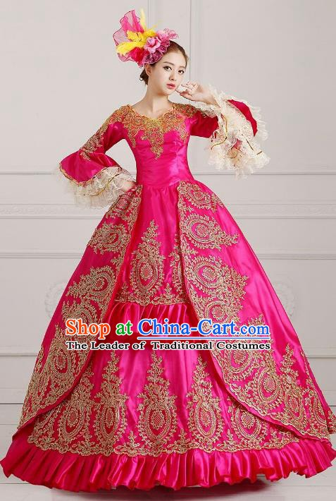 Traditional European Court Princess Renaissance Costume Dance Ball Rosy Lace Full Dress for Women
