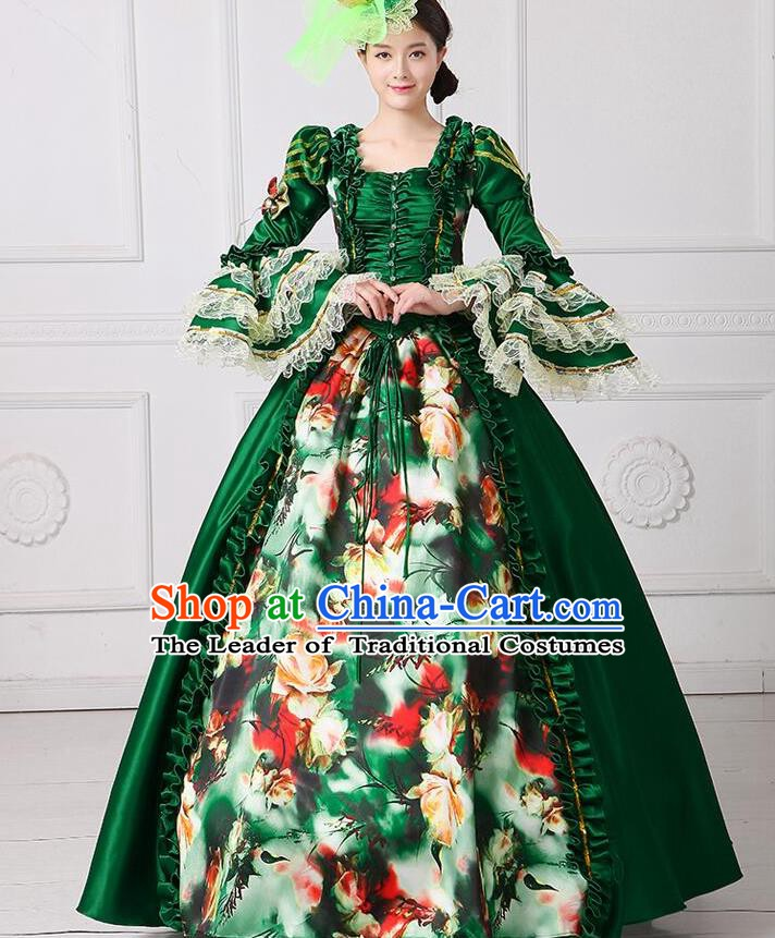 Traditional European Court Princess Renaissance Costume Stage Performance Middle Ages Dowager Green Full Dress for Women