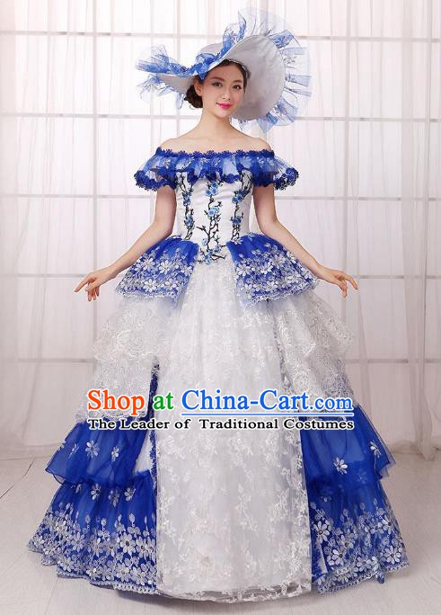 Traditional European Court Noblewoman Renaissance Costume Dance Ball Princess Blue Veil Full Dress for Women