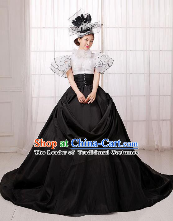 Traditional European Court Noblewoman Renaissance Costume Dance Ball Princess Black Full Dress for Women