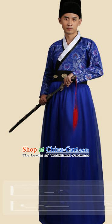 Traditional China Ancient Song Dynasty Imperial Bodyguard Costume Swordsman Deep Blue Robe Clothing for Men