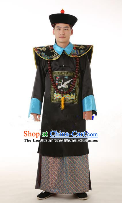Traditional China Ancient Qing Dynasty Manchu Royal Highness Costume Minister Gwanbok for Men