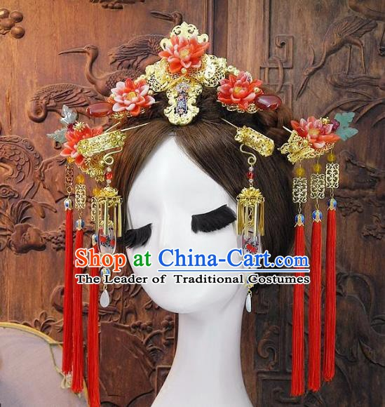 Chinese Handmade Classical Wedding Hair Accessories Ancient Hanfu Red Lotus Phoenix Coronet for Women
