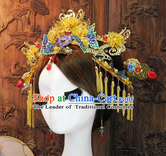 Chinese Handmade Classical Wedding Hair Accessories Ancient Hanfu Hairpins Tassel Butterfly Phoenix Coronet for Women