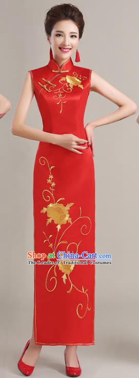 Traditional Chinese National Costume Printing Peony Red Cheongsam Dress for Women