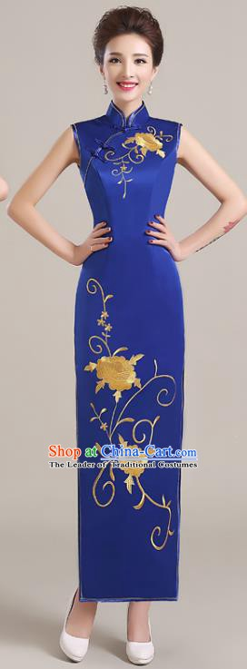 Traditional Chinese National Costume Printing Peony Royalblue Cheongsam Dress for Women