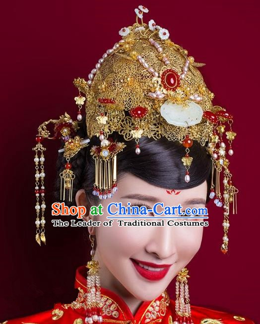 Chinese Handmade Classical Wedding Hair Accessories Ancient Hanfu Bride Phoenix Coronet for Women