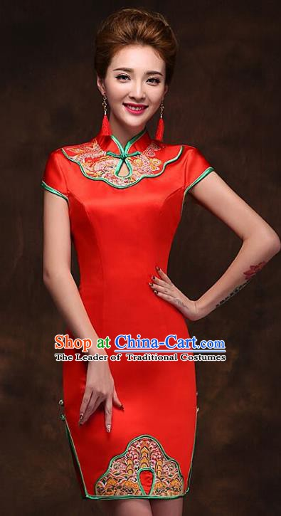 Traditional Chinese National Wedding Costume Red Cheongsam Dress for Women