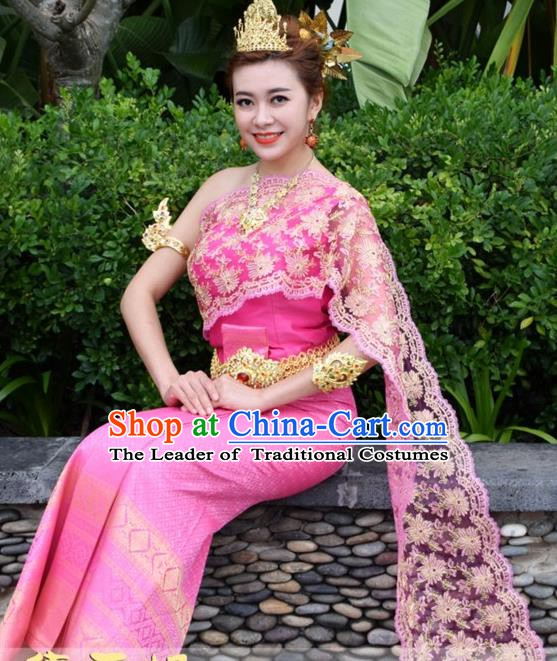 Traditional Asian Thailand Stage Performance Costume National Rosy Dress for Women