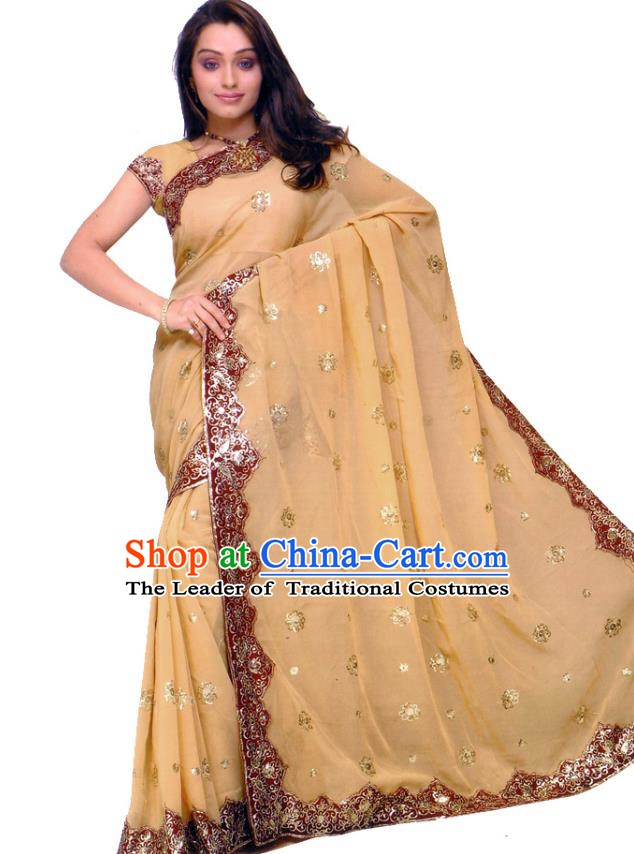 Traditional Asian India Stage Performance Costume Hindustan Indian National Yellow Dress Clothing for Women