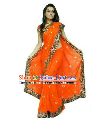 Traditional Asian India Stage Performance Costume Hindustan Indian National Orange Dress Clothing for Women