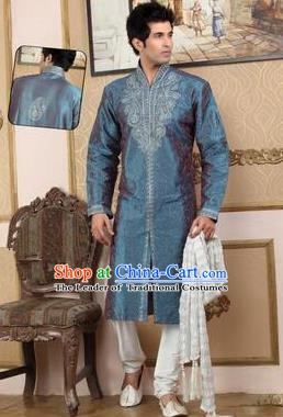 Traditional Asian India Stage Performance Peacock Blue Costume Hindustan Indian Prince National Clothing for Men