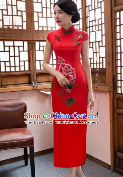 Traditional Chinese National Wedding Costume Printing Peony Red Cheongsam Dress for Women