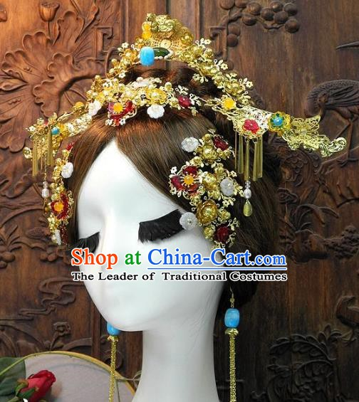 Chinese Handmade Classical Hair Accessories Wedding Phoenix Coronet Ancient Hanfu Hairpins for Women