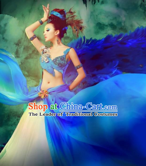 Traditional Chinese Peacock Dance Costume Pavane Blue Dress and Headpiece for Women