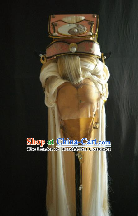 Traditional China Ancient Cosplay Taoist Priest Hair Accessories Wig and Tai Chi Hats for Men