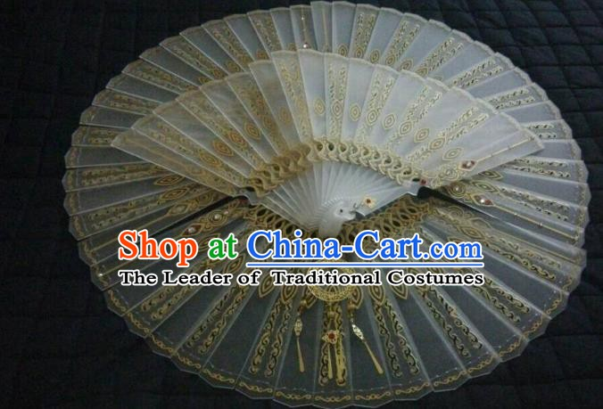 Traditional China Ancient Cosplay Swordswoman Palace Lady Fans for Women