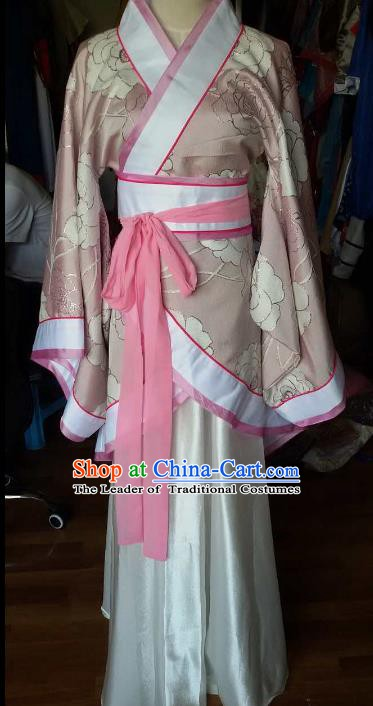 Traditional China Ancient Han Dynasty Royal Princess Costume Hanfu Pink Curving-front Robe for Women
