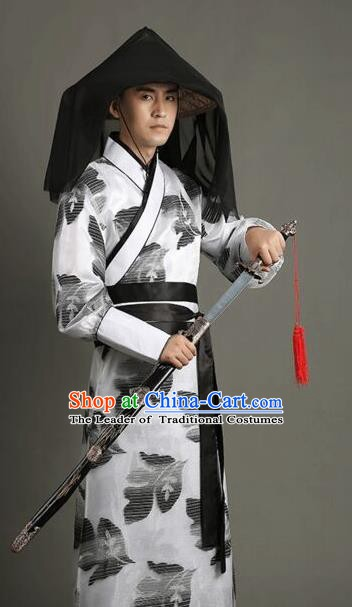 Traditional China Ancient Han Dynasty Swordsman Costume for Men