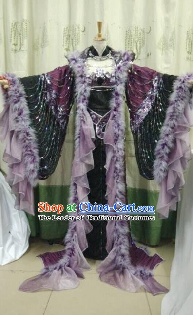 Traditional China Ancient Cosplay Swordsman Costume Palace Queen Purple Dress for Women