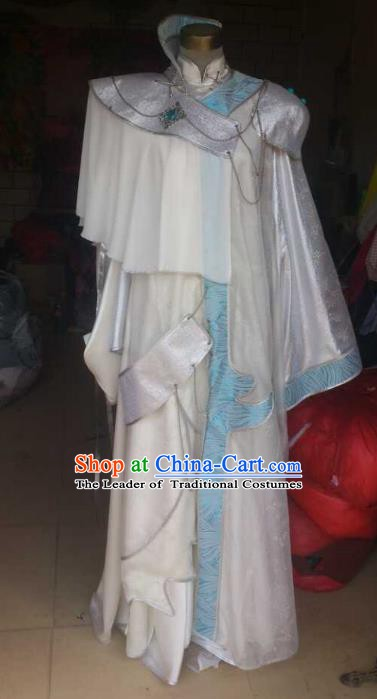 Traditional China Ancient Cosplay Palace Lady Costume Princess White Dress for Women