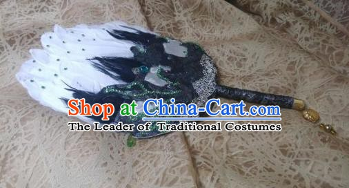Traditional China Ancient Cosplay Swordsman Tai Chi Feather Fans for Men