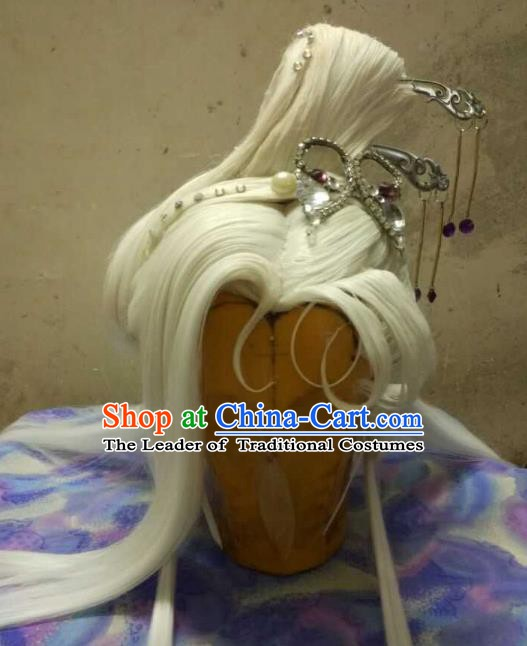 Traditional China Ancient Cosplay Princess Swordswoman Wig and Hair Accessories for Women