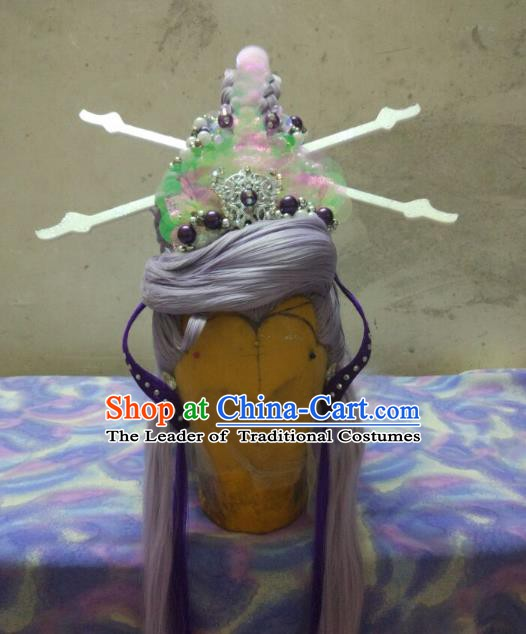 Traditional China Ancient Cosplay Fairy Wig and Hair Accessories Hairpins for Women