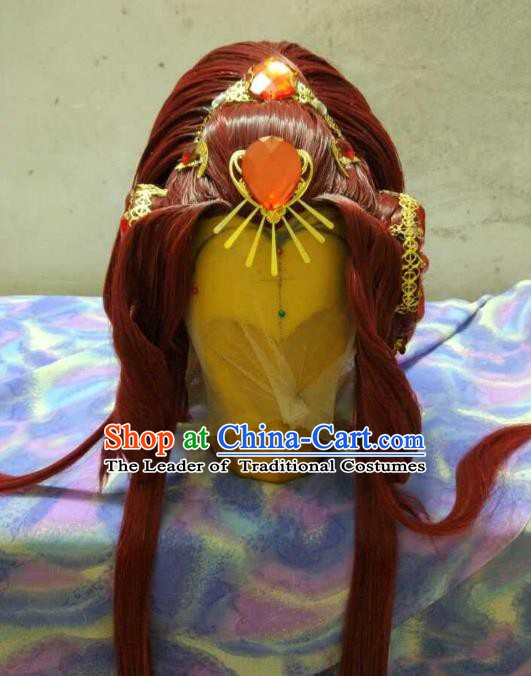 Traditional China Ancient Cosplay Asmodians Princess Wig and Hair Accessories Headwear for Women