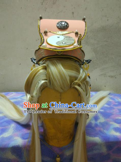 Traditional China Ancient Cosplay Taoist Priest Swordsman Wig and Hair Accessories Hat for Men