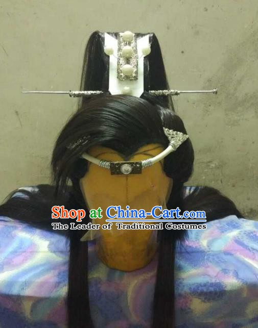 Traditional China Ancient Cosplay Nobility Childe Swordsman Wig and Hair Accessories Headwear for Men